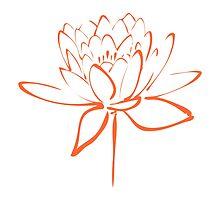 Lotus Flower Calligraphy (Orange) by Makanahele