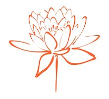 Lotus Flower Calligraphy (Orange) by Makanahele