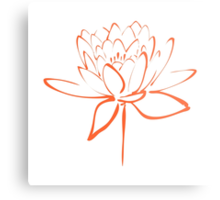 Lotus Flower Calligraphy (Orange) Metal Print
