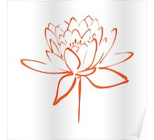 Lotus Flower Calligraphy (Orange) Poster