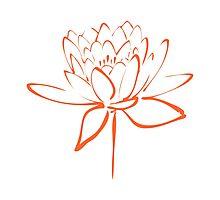 Lotus Flower Calligraphy (Orange) Photographic Print