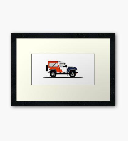 A Graphical Interpretation of the Defender 90 Station Wagon Bowler Motorsport Challenge (1) Framed Print