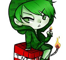 Chibi Creeper sticker  by PastelQueen
