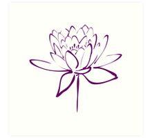 Lotus Flower Calligraphy (Purple) Art Print