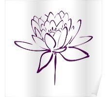 Lotus Flower Calligraphy (Purple) Poster