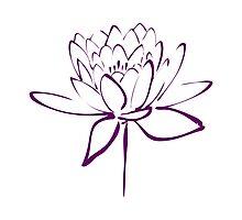 Lotus Flower Calligraphy (Purple) Photographic Print