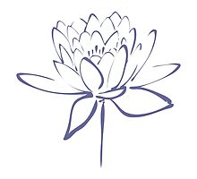 Lotus Flower Calligraphy (Blue) by Makanahele