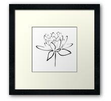 Lotus Flower Calligraphy (Smoke Grey) Framed Print