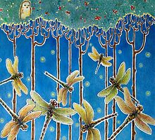Moonrise & Dragonflies by BDMillustration