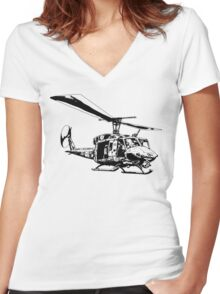 UH-1N Twin Huey Women's Fitted V-Neck T-Shirt