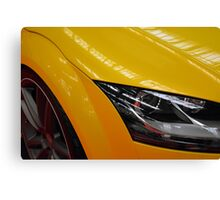 Yellow car detail of headlight Canvas Print