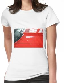 Red car detail of windscreen and hood Womens Fitted T-Shirt