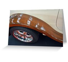 Detail of wooden car and tyre Greeting Card