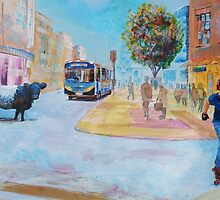 Belted Galloway Cow in City Painting - Going to Town by MikeJory