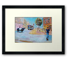 Belted Galloway Cow in City Painting - Going to Town Framed Print