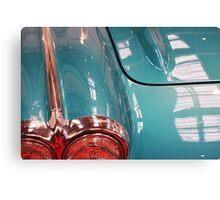 Beautiful blue shiny classic car hood and headlight Canvas Print