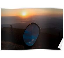 Sky view on motorcycle mirror Poster