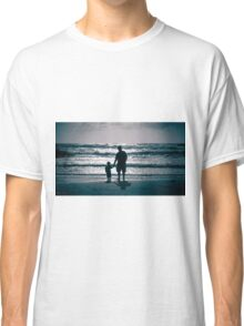 Father and Son on the beach at dusk Classic T-Shirt