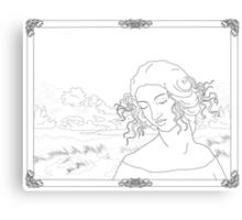 Leda at the Beach BW Canvas Print
