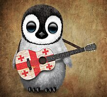 Baby Penguin Playing Georgian Flag Guitar by Jeff Bartels