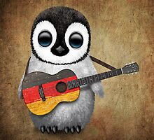 Baby Penguin Playing German Flag Guitar by Jeff Bartels