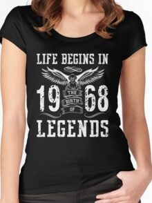 Life Begins In 1968 Birth Legends Women's Fitted Scoop T-Shirt