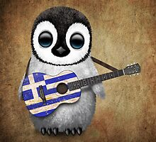 Baby Penguin Playing Greek Flag Guitar by Jeff Bartels