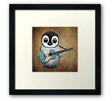 Baby Penguin Playing Guatemalan Flag Guitar Framed Print
