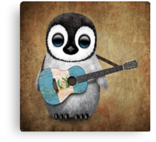 Baby Penguin Playing Guatemalan Flag Guitar Canvas Print