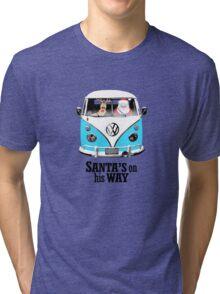 VW Camper Santa Father Christmas On Way Bright Blue Tri-blend T-Shirt