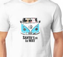 VW Camper Santa Father Christmas On Way Bright Blue Unisex T-Shirt