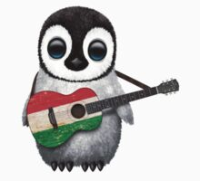 Baby Penguin Playing Hungarian Flag Guitar Kids Clothes