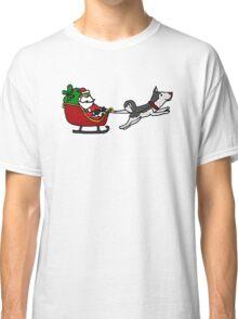 Cool Funny Christmas Art with Santa Sleigh and Husky Classic T-Shirt