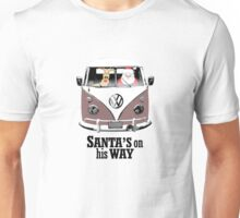 VW Camper Santa Father Christmas On Way Brown Unisex T-Shirt