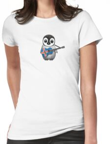 Baby Penguin Playing Icelandic Flag Guitar Womens Fitted T-Shirt