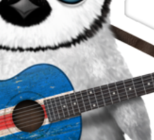 Baby Penguin Playing Icelandic Flag Guitar Sticker