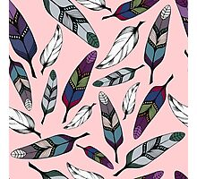 Colorful tribal feathers design on pink. Vector illustration Photographic Print