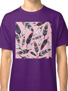 Colorful tribal feathers design on pink. Vector illustration Classic T-Shirt