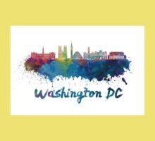 Washington DC V2 skyline in watercolor Kids Tee