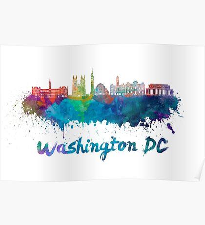 Washington DC V2 skyline in watercolor Poster