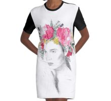 Flower Crown Graphic T-Shirt Dress