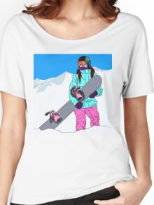 Snowboarder girl in mountain Women's Relaxed Fit T-Shirt