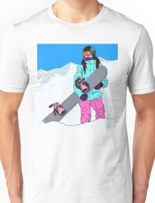 Snowboarder girl in mountain Unisex T-Shirt