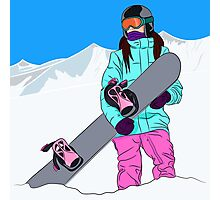 Snowboarder girl in mountain Photographic Print