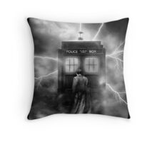 Ligtning Into The Public Police Call Box Throw Pillow