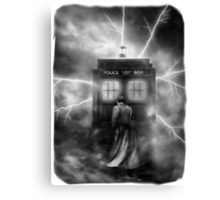Ligtning Into The Public Police Call Box Canvas Print