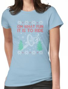 Cycling Christmas Womens Fitted T-Shirt