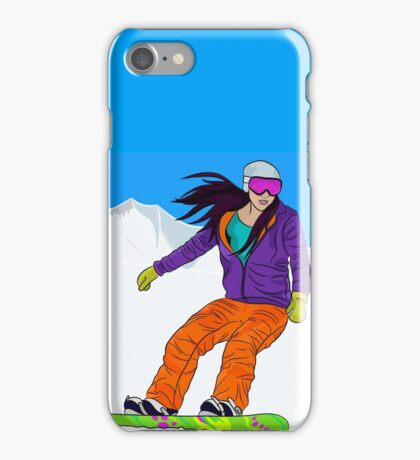 Snowboarder girl in mountain iPhone Case/Skin