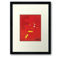 The Flash - Superhero Minimalist Alphabet Print Art Framed Print