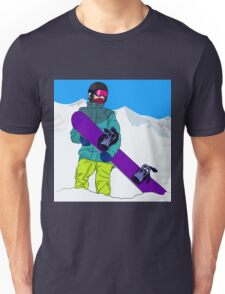Snowboarder man with snowboard in mountain Unisex T-Shirt